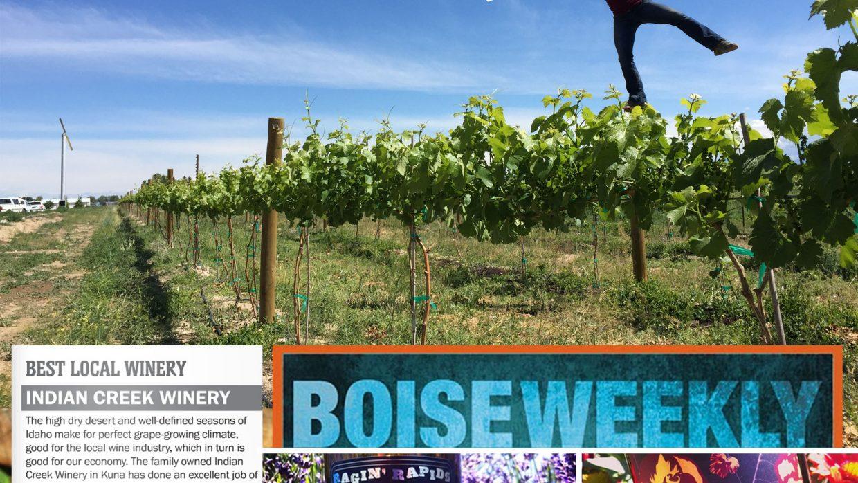 """Best Local Winery"" – Boise Weekly, 2016 Best of Boise"