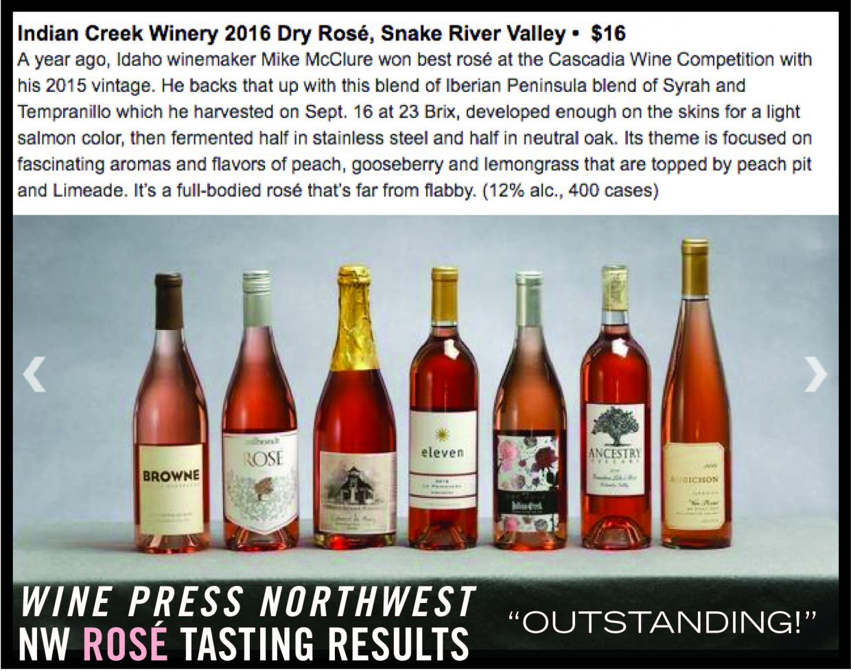 Our Rosé gets highest rating and Top 30 in Wine Press Northwest